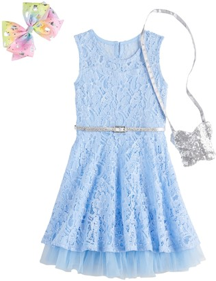 Knitworks Girls 4-6x Lace Skater Dress, Bow & Purse Set