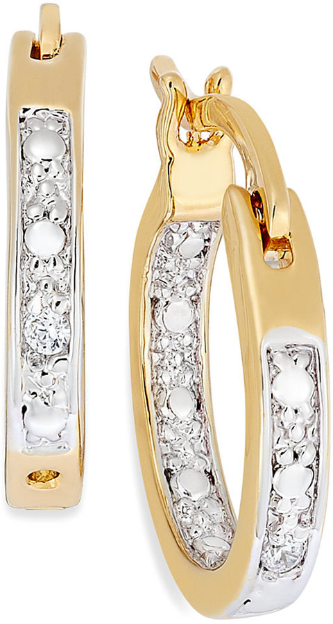 Townsend Victoria 18k Gold over Sterling Silver Earrings, Diamond Accent In-and-Out Hoop Earrings