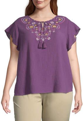 ST. JOHN'S BAY Plus Womens Split Crew Neck Short Sleeve Embroidered Blouse