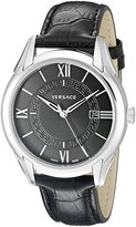 "Versace Men's VFI010013 ""Apollo"" Stainless Steel Casual Watch with Leather Band"