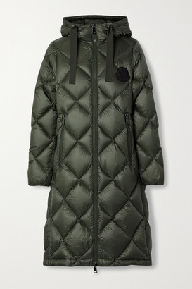 Moncler Duroc Hooded Quilted Shell Down Coat - Army green