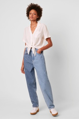 French Connection Yoshie Two Tone High Waist Boyfriend Jeans