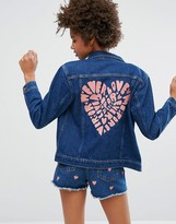 Monki Embroidered Heart Back Denim Jacket