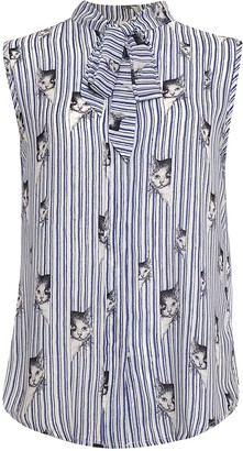 LaVieLente Womens Light Blue Sleeveless Front Bow Blouse with Animal Patterns (Sky Blue X-Small)
