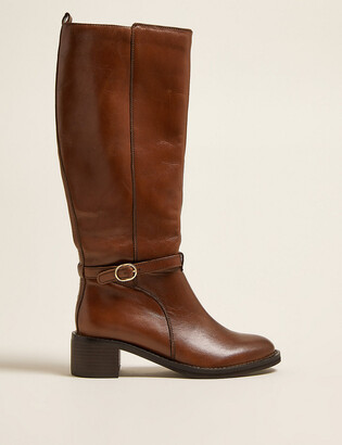 Marks and Spencer Leather Buckle Knee High Boots