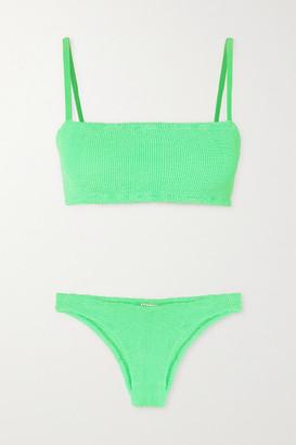 Hunza G + Net Sustain Gigi Seersucker Bikini - Bright green