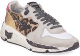 Golden Goose Leopard Mixed Running Sneakers