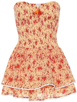 Poupette St Barth Triny strapless floral cotton minidress