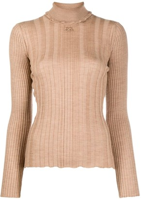 Courreges Ruffle Roll-Neck Ribbed Sweater