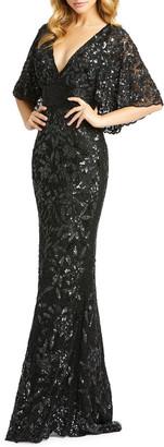 Mac Duggal Beaded V-Neck Cape-Sleeve Sheath Gown