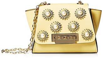 Zac Posen Eartha Mini Chain Crossbody-Solid w Brogue Floral Applique-Yellow