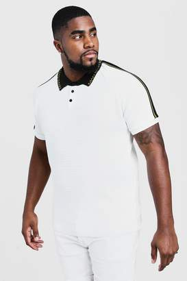 BoohoomanBoohooMAN Mens White Big & Tall Knitted Polo With Man Collar, White