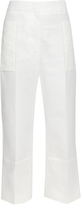 Marni Wide-leg cropped cotton and linen-blend trousers