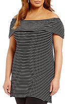 Gibson & Latimer Plus Striped Off-The-Shoulder Knit
