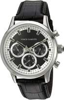 Vince Camuto Men's Quartz Stainless Steel and Leather Dress Watch, Color:Black (Model: VC/1089BKSV)
