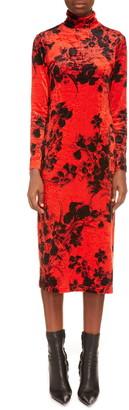 Balenciaga Long Sleeve Turtleneck Midi Dress