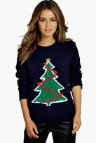 boohoo Petite Holly Christmas Tree Jumper