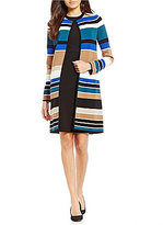 Calvin Klein Petites Engineered Stripe Textured Knit Open Front Long Cardigan