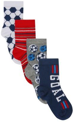 M&Co Football themed socks four pair pack