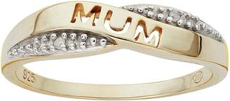 Moon & Back 9ct Gold Plated Silver Diamond Accent Mum Ring
