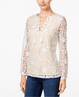 INC International Concepts Lace-Up Top, Only at Macy's