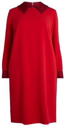 Marina Rinaldi Contrast-Collar Dress