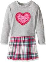 Youngland Girls' Grey Long Sleeve Sweater Knit To Woven Plaid Fashion Dress With Heart Applique