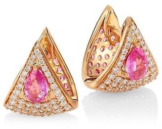 Hueb Spectrum 18K Rose Gold, White Diamond & Pink Sapphire Earrings