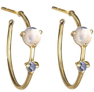 WWAKE Two-Step Tonal Sapphire Hoop Earrings