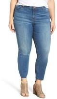 Plus Size Women's Caslon Step Hem Stretch Skinny Ankle Jeans