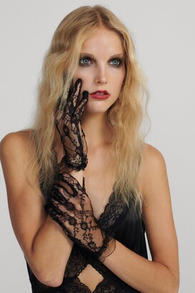 Nasty Gal Womens In Safe Hands Lace Gloves - black - One Size