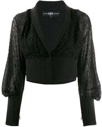 Avaro Figlio embellished sheer crop blouse