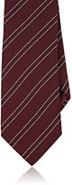 Giorgio Armani Men's Thin-Striped Silk Necktie-BURGUNDY
