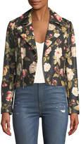 Alice + Olivia Cody Crop Floral-Print Leather Moto Jacket