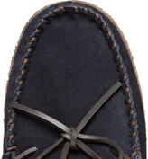 J.Crew Plaid-Lined Suede Slippers