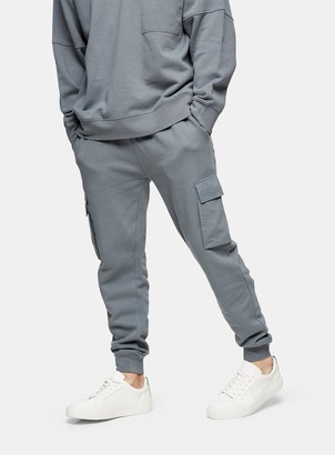 Topman Grey Twill Pocket Cargo Joggers