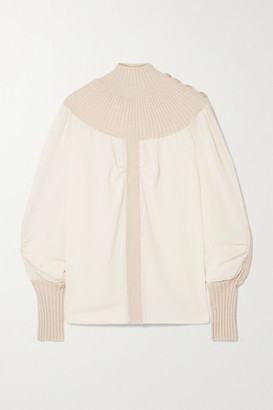 Chloé Ribbed Wool-blend And Silk-chiffon Turtleneck Top - White