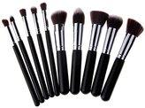 Unimeix® 10 pcs Premium Synthetic Kabuki Makeup Brush Set Cosmetics Foundation Blending Blush Eyeliner Face Powder Brush Makeup Brush Kit (Black Silvery)
