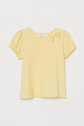 H&M Puff-sleeved Top - Yellow