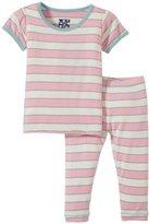 Kickee Pants Print Pajama Set (Baby) - Girl Stripe-0-3 Months