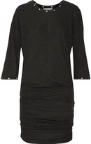 Rebecca Minkoff Ori embellished ruched ribbed stretch-jersey mini dress