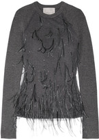 Jason Wu Feather-embellished Tulle And Ribbed Wool-blend Sweater - Dark gray