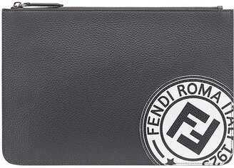 Fendi Logo Stamp Zipped Wallet