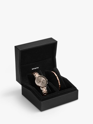 MVMT CBX-ORRG Women's Orion Stud Bracelet and Chronograph Bracelet Strap Watch Gift Set, Rose Gold/Gunmetal