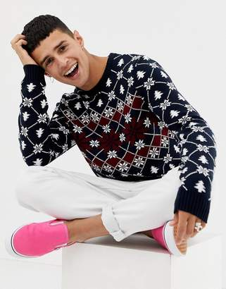 Asos Design DESIGN Holidays sweater with festive design in navy