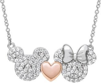 Diamonique Disney Mickey & Minnie Necklace, Sterling Silver