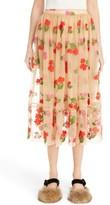 Simone Rocha Women's Smocked Waist Embroidered Tulle Skirt