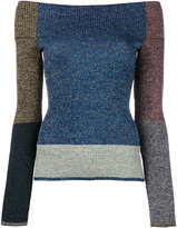 Christopher Kane metallic off-the-shoulder jumper - women - Nylon/Polyester/Viscose/Metallized Polyester - S