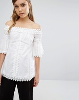 Style Mafia Embroidered Off Shoulder Top