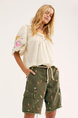 Free People Long Stroke Military Shorts by Riley Vintage at